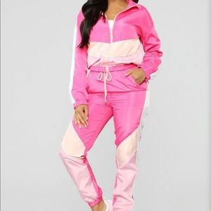 Pink Multi Colored Jogger Set